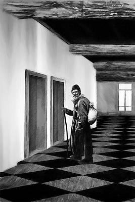 Digital Art - Tolstoy Waits For An Elevator by John Haldane