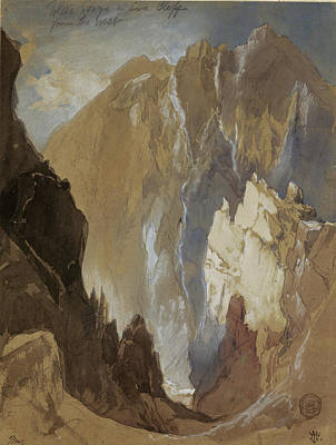 Drawing - Toltec Gorge And Eva Cliff From The West, Colorado, 1892 by Thomas Moran