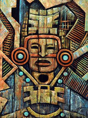 Petroglyph Painting - Toltec Mask by Salvador Rodriguez