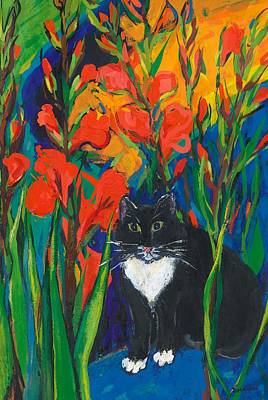 Gouache Painting - Tom And Gladioli by Sarah Gillard