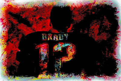 John Elway Painting - Tom Brady 12a by Brian Reaves