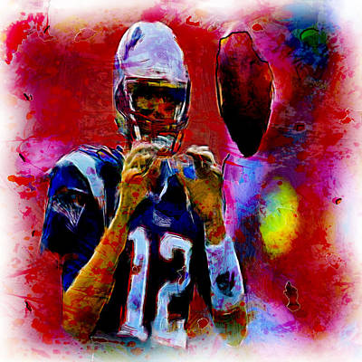 John Elway Painting - Tom Brady 12b by Brian Reaves