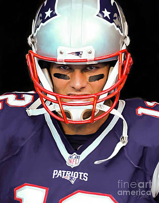 Gillette Stadium Painting - Tom Brady - Patriots by Paul Tagliamonte