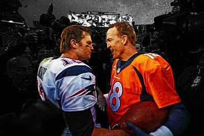 Espn Mixed Media - Tom Brady And Peyton Manning by Brian Reaves