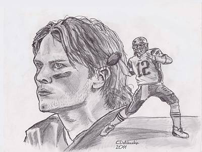 Drawing - Tom Brady by Chris  DelVecchio