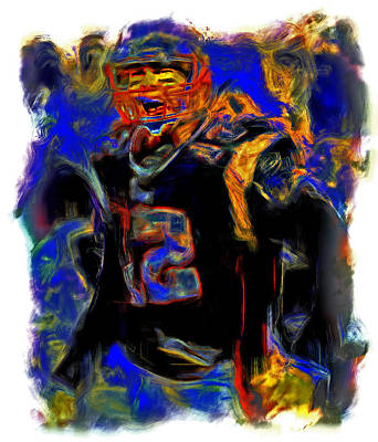 John Elway Painting - Tom Brady Fired Up by Brian Reaves