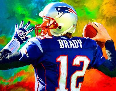 Tom Brady Painting - Tom Brady Football Art Painting by Andres Ramos