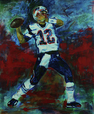 Painting - Tom Brady - Patriot Football by Walter Fahmy