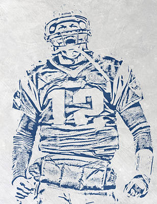 Tom Brady New England Patriots Pixel Art 1 Art Print