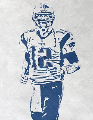 New England Mixed Media - Tom Brady New England Patriots Pixel Art 2 by Joe Hamilton