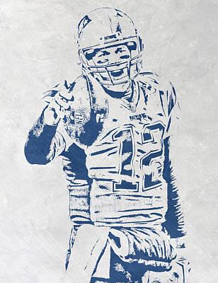 Tom Brady New England Patriots Pixel Art 3 Art Print by Joe Hamilton
