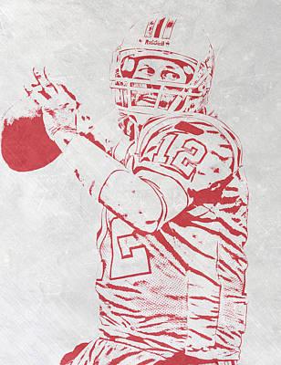 New England Mixed Media - Tom Brady New England Patriots Pixel Art 4 by Joe Hamilton
