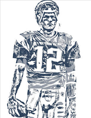 Mixed Media - Tom Brady New England Patriots Pixel Art 40 by Joe Hamilton