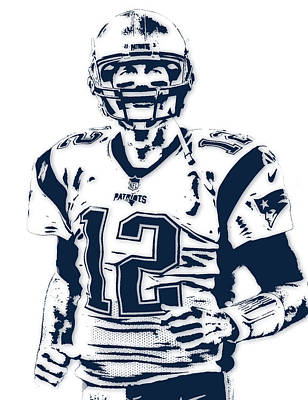 Sports Mixed Media - Tom Brady New England Patriots Pixel Art 6 by Joe Hamilton