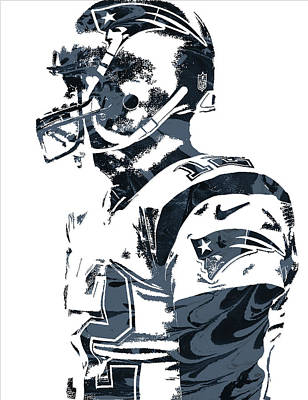 New England Mixed Media - Tom Brady New England Patriots Pixel Art 8 by Joe Hamilton