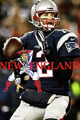 New York Yankees Mixed Media - Tom Brady, Number 12, New England Patriots, Captain America by Thomas Pollart
