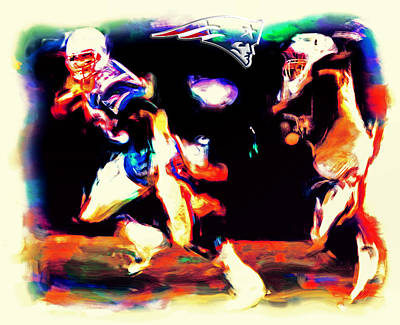 John Elway Painting - Tom Brady Out Of The Pocket by Brian Reaves