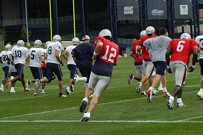 Photograph - Tom Brady Practice Running by Mike Martin