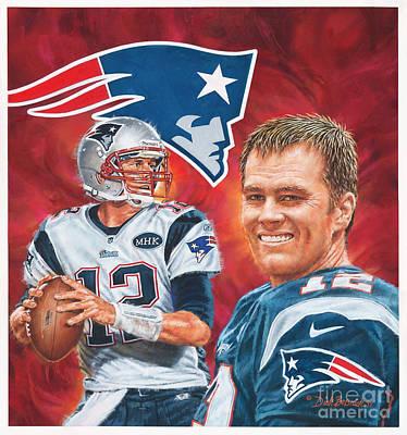 Painting - Tom Brady - Quarterback by Dick Bobnick