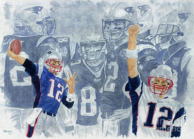 Tom Brady Quarterback Study 1 Art Print by George  Brooks
