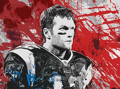 Tom Brady Painting - Tom Brady Red White And Blue by John Farr