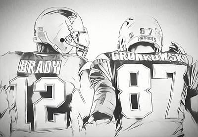 Drawing - Tom Brady Rob Gronkowski Sketch by Dan Sproul