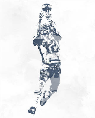 Mixed Media - Tom Brady The Drop New England Patriots Pixel Art by Joe Hamilton