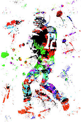 Photograph - Tom Brady Watercolor Art by Joann Vitali