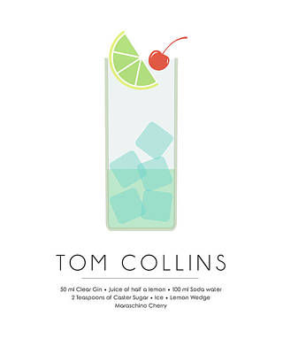 Tom Collins Classic Cocktail Minimalist Print Art Print