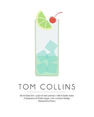 Food And Drink Mixed Media - Tom Collins Classic Cocktail Minimalist Print by Studio Grafiikka