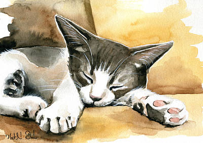 Painting - Tom - Cute Little Kitty Painting by Dora Hathazi Mendes
