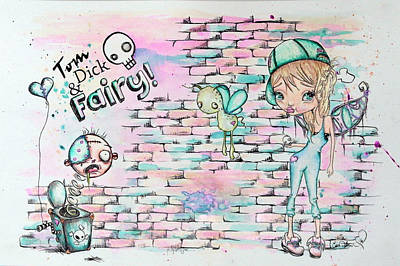 Tom Boy Painting - Tom Dick And Fairy by Lizzy Love