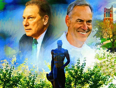 Michigan State Painting - Tom Izzo N Mark Dantonio by John Farr
