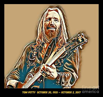 Travelling Mixed Media - Tom Petty Memorial Art by Pd