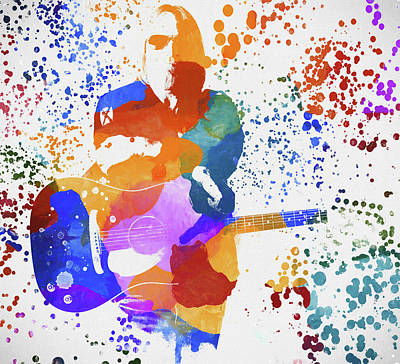 Music Paintings - Tom Petty Paint Splatter by Dan Sproul