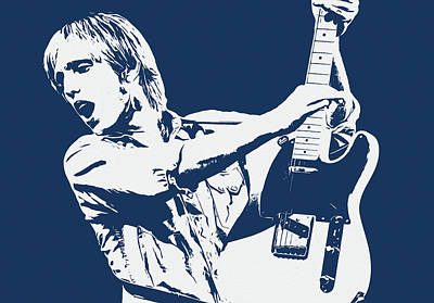 Movies Star Paintings - Tom Petty - Portrait 02 by AM FineArtPrints