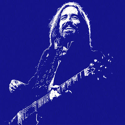 Painting - Tom Petty - Portrait In Blue by Andrea Mazzocchetti