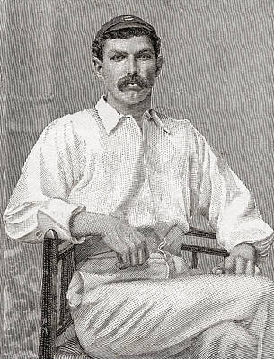 Cricket Drawing - Tom Richardson, 1870 by Vintage Design Pics