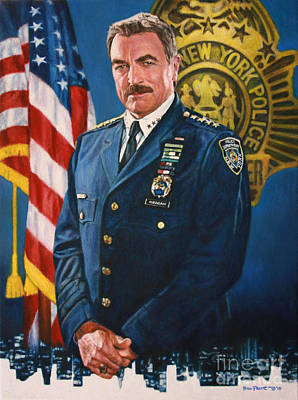 Cop Painting - Tom Selleck - Blue Bloods by Bill Pruitt