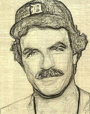Pi Drawing - Tom Selleck by Bob Smerecki