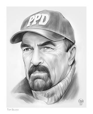 Blue Drawing - Tom Selleck by Greg Joens