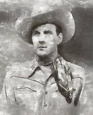 Elvis Presley Painting - Tom Tyler, Vintage Western Actor by Mary Bassett