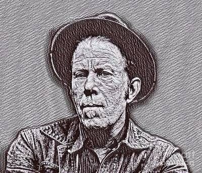 Musicians Drawings - Tom Waits Drawing by Pd