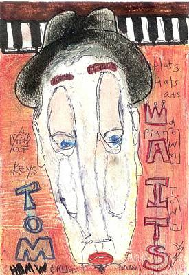 Oil Pastel Drawing - Tom Waits by Robert Wolverton Jr