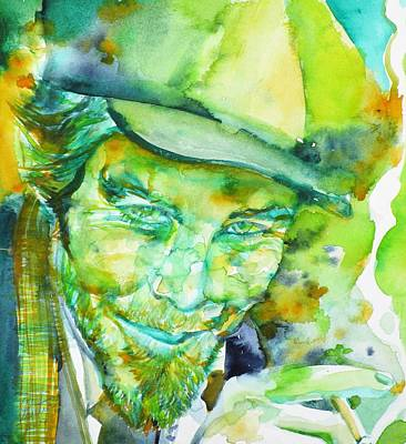 Painting - Tom Waits - Watercolor Portrait.5 by Fabrizio Cassetta