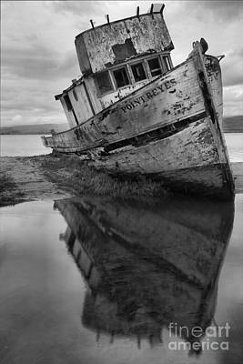 Photograph - Tomales Bay Shipwreck Black And White Portrait by Adam Jewell
