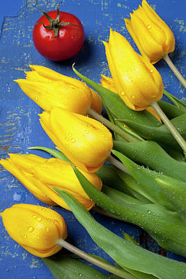 Still Live Photograph - Tomato And Tulips by Garry Gay