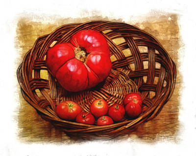 Photograph - Tomato Basket In Watercolor by Judi Bagwell