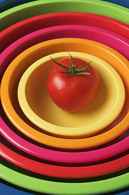 Tomato In Mixing Bowls Print by Garry Gay