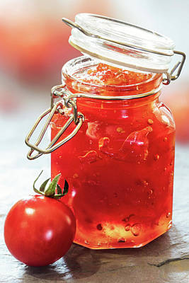 Slate Photograph - Tomato Jam In Glass Jar by Johan Swanepoel